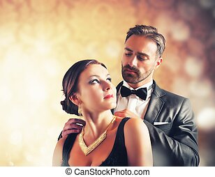 Romantic couple - A man gives a necklace to his wife