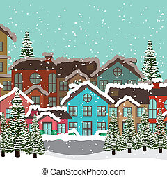 Christmas design over townscape background,vector...