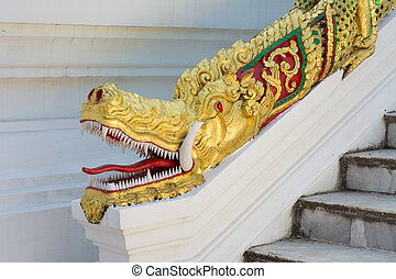 Dragon Head Statue at Haw Pha Bang , Luang Prabang , Laos