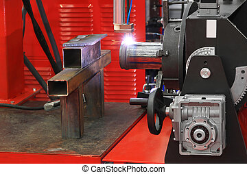 Pipe welding - Automated robot welding gas pipe in workshop