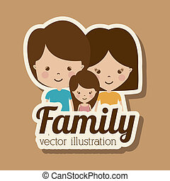 Family design over brown background,vector illustration