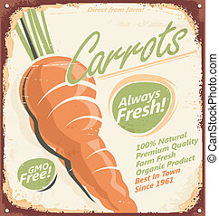 Carrots vintage sign - Retro metal sign for farm fresh...