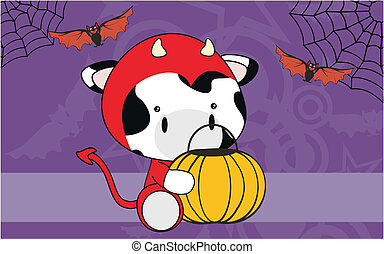 cow baby animal halloween background in vectro format