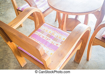 Classic wooden set of furniture, stock photo