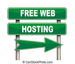 Free web hosting green road sign - Illustration of green...