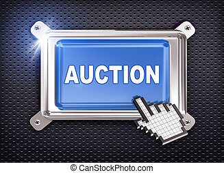 3d button hand cursor - auction