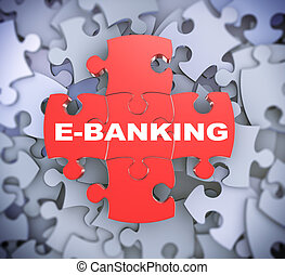 3d puzzle pieces - ebanking - 3d illustration of attached...