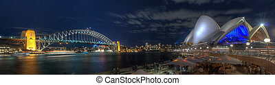 Sydney Harbour Bridge and Opera House by Night - Wide-angle...