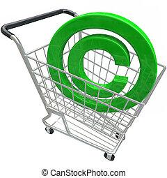 propiedad literaria, símbolo, 3D, compras, carrito,...