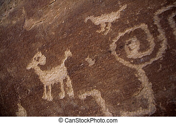 Petroglyph - Depiction of Mountain Sheep Clan pictograph...