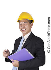 Happy young asian engineer architect read a report on white...