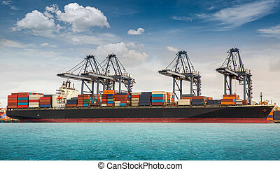 contenedor, barco, berthing, puerto