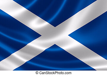 Scotland's Flag - 3D rendering of the flag of Scotland on...