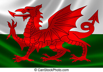 Welsh Flag - 3D rendering of the flag of Wales on satin...