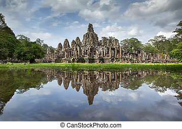 Angkor Wat with reflextion, Ta Prohm Khmer ancient Buddhist...