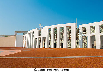 Canberra - Main entrance to the Parliament of Australia,...