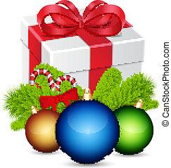 Gift with christmas balls