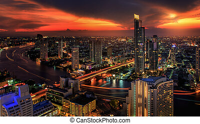 River in Bangkok city in night time with bird view