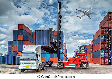 Containers in the port of Laem Chabang in Thailand