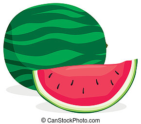 Watermelon - Full and sliced watermelon in solid colors
