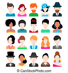 Set of Trendy Flat Icons Men and Women Vector Characters...