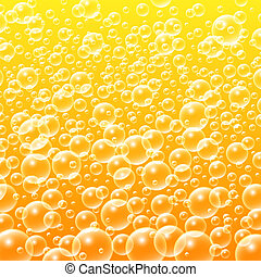 Colorful Yellow Water Bubbles Background. Vector...