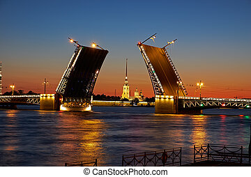 St Petersburg - View of the River Neva and the Palace Bridge...