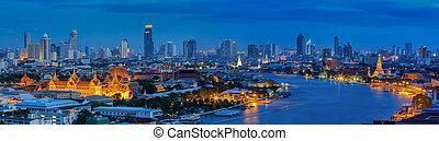 Grand palace at twilight in Bangkok, Thailand