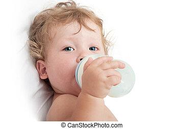 わずかしか, 吸う, びん, 赤ん坊,  curly-headed, ミルク
