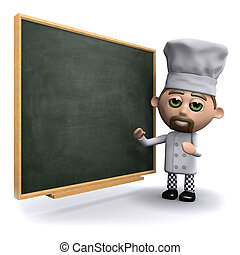 3d Chef at the blackboard - 3d render of a chef standing...