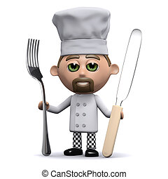 3d Chef with knife and fork - 3d render of a chef holding a...
