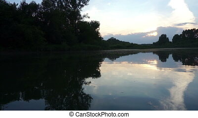 Evening on the River - Evening on the Tom River in Western...
