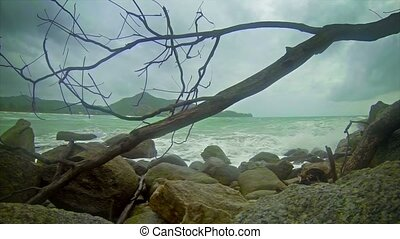 Cloudy weather. Beach near Kamala Beach. The rainy season in...