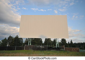 Drive inn screen - Abandoned drive in screen with sky and...