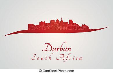 Durban skyline in red