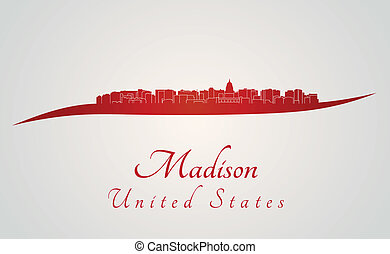 Madison skyline in red and gray background in editable...