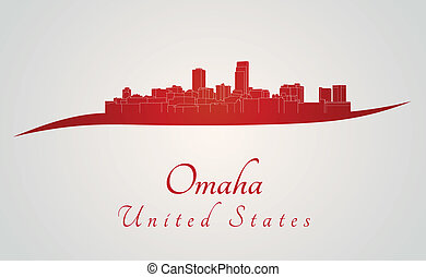 Omaha skyline in red and gray background in editable vector...