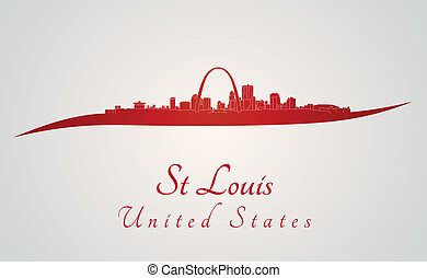 St Louis skyline in red and gray background in editable...