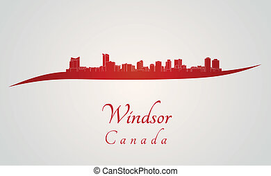 Windsor skyline in red and gray background in editable...