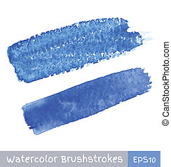 Blue Watercolor Brush Strokes, vector illustration