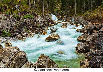 Cascade of Kuhfluchtwasserfall. Farchant,...