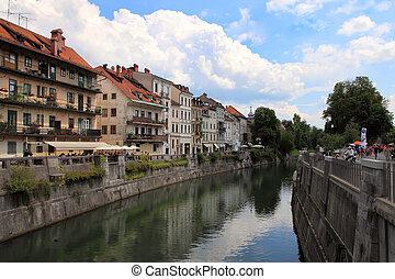 LJUBLJANA, SLOVENIA - CIRCA JULY 2014: Old town embankment...