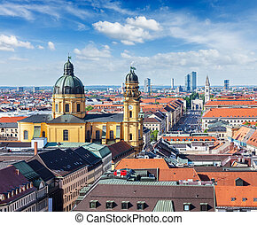 Aerial view of Munich over Theatine Church of St. Cajetan...
