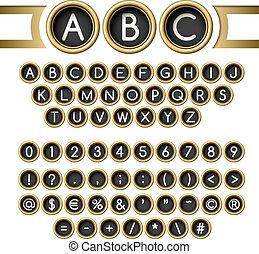 Typewriter buttons alphabet - Vintage letters set. Golden...