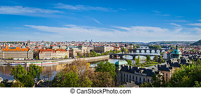 Panoramic view of Prague bridges over Vltava river from Letna Pa