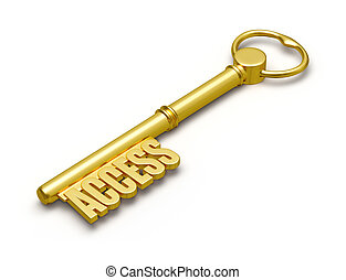 Access key - Access concept - golden access key made of gold...