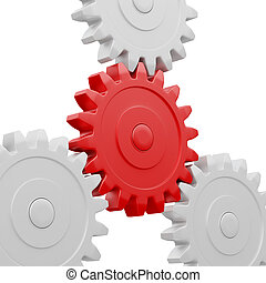 Gear cogwheels working together on white - Teamwork success...