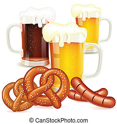 Oktoberfest Concept with Glasses of Beer, Pretzels and...