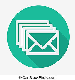 Four envelopes flat icon with long shadow Social networking...