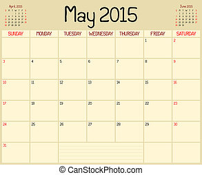 Year 2015 May Planner - A monthly planner calendar for May...